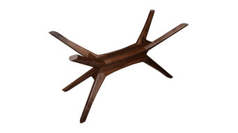 Bauhaus architectural Star Base Solid Walnut Dining table support base