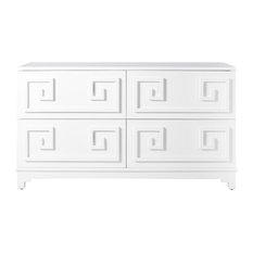 Lucio Hollywood Regency Greek White Lacquer Mirror Dresser - Dressers