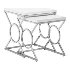 43-inch Glossy White Mdf And Chrome Metal Two Pieces Nesting Table Set