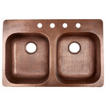 """Sinkology - Santi Drop-In Sink 33"""" Double Bowl Copper, Antique Copper, 4-Hole Right Side - Ideal for homes that want to instantly upgrade their appeal, the Santi offers a pure, solid copper design that is hand-hammered by artisans to create a one-of-a-kind finish. From the drop-in mounting style to pre-installed sound-dampening pads, the Santi is strategically designed to maximize the space and style of your kitchen while showcasing the natural beauty and durability of premium copper."""