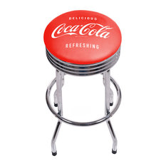 Coca Cola Chrome Ribbed Bar Stool Delicious Refreshing