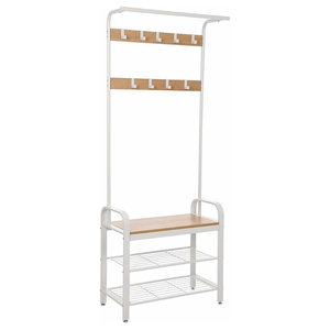 Modern Design Coat Stand With 3 Shelves and 9 Hooks, White