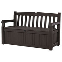 70 gal. All Weather Outdoor Patio Storage Garden Bench Deck Box, Brown