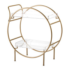 Round Gold Bar Cart With Transparent Shelves