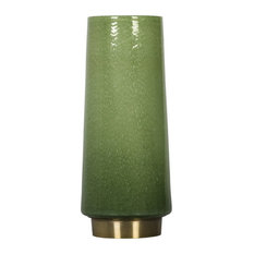 """Bubbles Hand Blown Seeded Art Glass Vase with Brass Base, Green,12.6"""""""