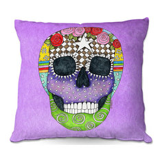 DiaNoche Outdoor Pillows by Marley Ungaro, Sugar Skull Violet