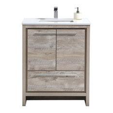 KubeBath Dolce 30_ Bathroom Vanity With White Quartz Countertop, Ash Gray, Natur