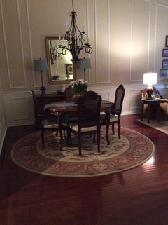 My Dining Table Is Oval I Used A Large Round Rug Underneath Hard To Find An And Rectangle Would Have Extended Into The Living Area Which