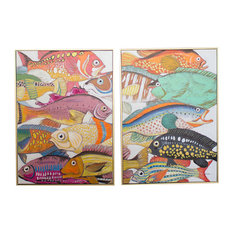 GWG Outlet Oil Painting 2-Piece Set   Colorful Fish  , Gold Frame