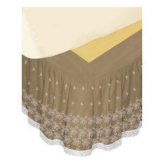 """""""Hike Up Your Skirt"""" Embroidered Bed Skirt, White, Ca King"""