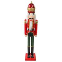 """36"""" Decorative Red and Green Velvet Wooden Christmas Nutcracker King"""