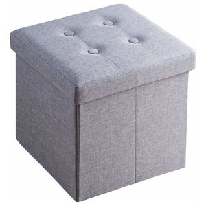 Foldable Ottoman Storage Box Upholstered, Grey Linen Fabric on MDF Frame