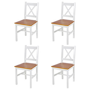 vidaXL Wood Cross Back Dining Chairs, White and Natural, Set of 4