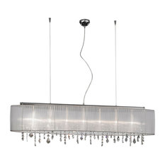 Long Paralume Clear Spectra Crystal Pendant Light, White and Chrome
