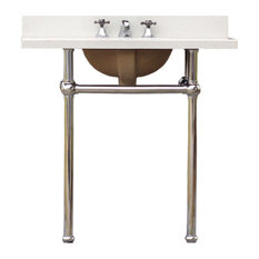 Bath Console Sink Deco Style Vanity Bath Sink Package, Chrome Legs Quartz Top