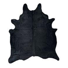 Cowhide Rug, Natural Solid Black