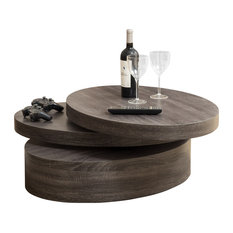 GDFStudio   Lenox Oval Mod Rotating Wood Coffee Table   Coffee Tables