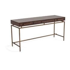 Modrest Nathan - Modern Acacia and Brass Desk