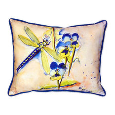 Pair of Betsy Drake Blue Dragonfly Large Indoor/Outdoor Pillows 16x20