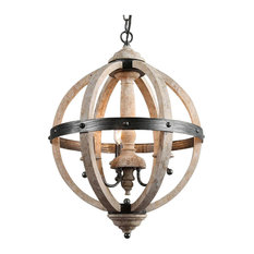 3-Light Farmhouse Globe Chandeliers, Antique White Wood, Black Metal