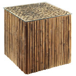 Padma's Plantation - Bamboo Stick Bunching Table Base With Glass - Naturally rustic and eco-friendly, this table is built with bamboo sticks over a hardwood frame. It is perfectly sized to be used in multiples as a coffee table, or individually as a small side table.