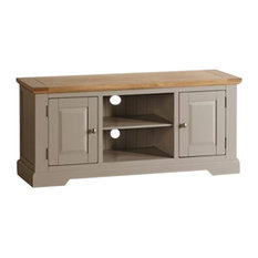 St Ives Natural Oak Painted Large 2-Shelf 2-Door TV Cabinet, Pale Grey