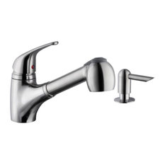 Low Profile 1-Handle Pull-Out Kitchen Faucet With Dispenser, Brushed Nickel