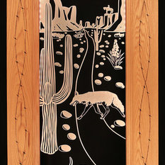 Artist/handmade, Custom   Patio Door, Illuminated Engraved Art, Southwest  Theme