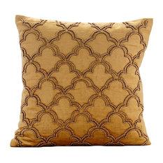 "Gold Velvet Throw Pillows 20""x20"" Outdoor Chair Cushions, Lattice, Gold Jewel"