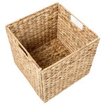 """Trademark Innovations - Foldable Hyacinth Storage Basket with Iron Wire Frame, Set of 5 - These beautiful storage baskets measure 12""""L x 12""""W x 12""""H.  They fold flat for easy storage when not in use.  Made from water hyacinth over an iron wire frame.  These will enhance your decor while being a useful place to store towels, books, magazines or any number of household items.  By Trademark Innovations."""