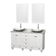 "60"" Acclaim White Double Vanity, White Carrera Top and White Carrera Marble Sink"