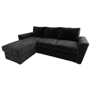 Stanford Chenille Fabric Corner Sofa Bed, Black