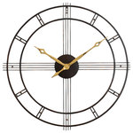 Aspire - Rumi Wall Clock - With it's quality construction and stylish mid-century modern design, the Rumi Wall Clock is an attractive accent for the home. Crafted entirely of iron, this large wall clock features a dark brown distressed finish and large distressed gold hands. Minimalism is reflected in the clock's open pass-through design.