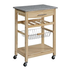 Modern Kitchen Island With Granite Top With A Slide Out Wire Storage Basket