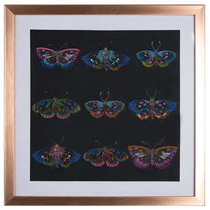 Beautiful Butterflies Black Stitched Framed Print, 40x40 cm