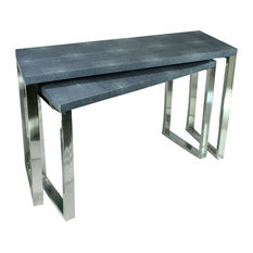 Rectangular Wood And Metal Console Tables Gray And Silver Set Of 2.