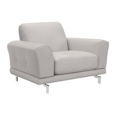 Everly Contemporary Chair Genuine Dove Gray Leather With Brushed Stainless Legs