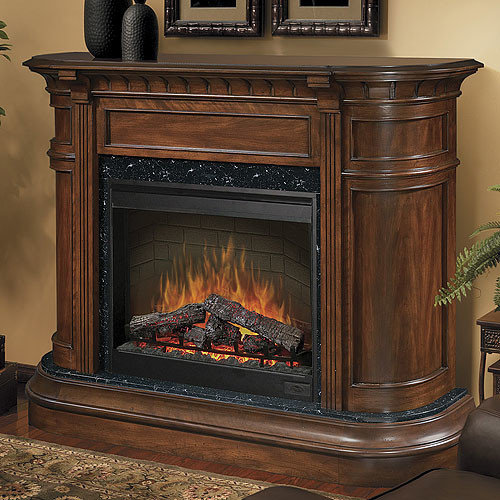 Dimplex - Carlyle Burnished Walnut Electric Fireplace Mantel Package -  SOP-475-BW - - Electric Fireplace Mantel Packages