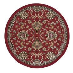 Leanna Transitional Oriental Red Round Area Rug, 8' Round
