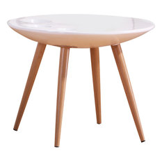 All In One Furniture Modern Round End Table High Gloss White Side Tables