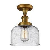Large Bell 1-Light Semi-Flush Mount, Brushed Brass, Seedy Glass