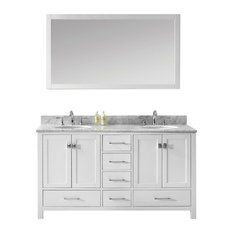 "Caroline Avenue 60"" Double Bathroom Vanity Set White, Marble Top"