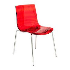LeisureMod Modern Astor Polycarbonate Dining Chair Transparent Red