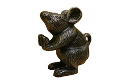 """Set of 2 Rustic Silver Cast Iron Mouse Book Ends, 5"""""""