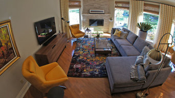 A mid-century influenced family room and kitchen eating area in Manotick, ON