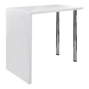VidaXL High Gloss Bar Coffee Table Dining With 2 Legs, White