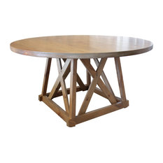 Julia Round Pedestal Dining Table Harvest Wheat Finish 66-inch Round