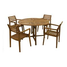 "5 pc. 48"" Round Eucalyptus Folding Dining Set"