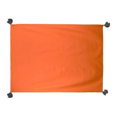 Pom Pom Solid Throw, Orange and Charcoal