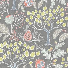 Groovy Garden Gray Peel and Stick Wallpaper, Roll
